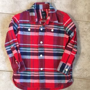 Gap Kids Plaid Ling Sleeve- Excellent Condition